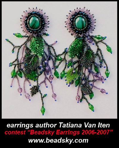 beaded earrings, author Tatiana Van Iten, contest Beadsky Earrings