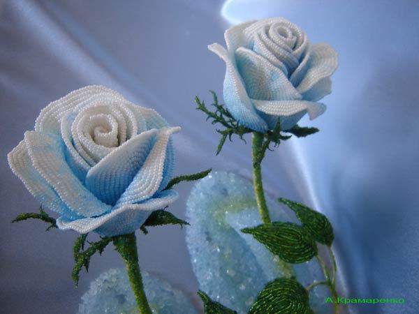 розы избисера, beaded roses