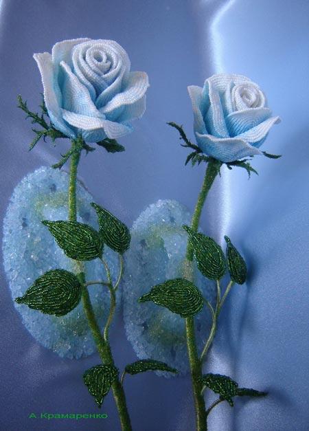 beaded  roses, розы из бисера
