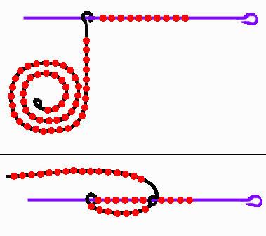 Затем начинается традиционное плетение дугами.  Низку с бисером следует завести по верх оси и затем сделать виток...