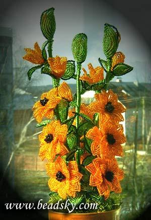 Цветы из бисера.