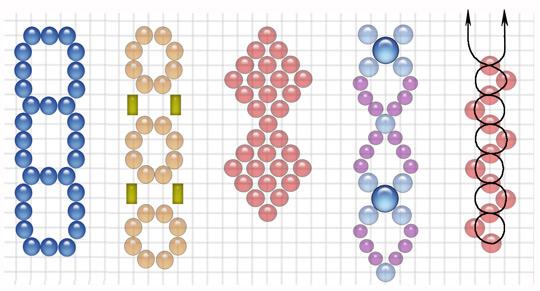 Варианты плетения из бисера цепочек на двух иглах.  И это всё варианты...